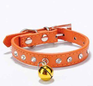 Collare di cuoio dell'unità di elaborazione del cane all'ingrosso del Rhinestone con la collana della Bell