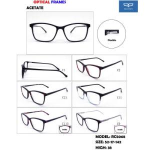 Zes Optische Frames Eyewear van de Acetaat van de Kleur voor de Rechthoekige Klaar Goederen van de Levering van de Fabriek van de Vorm van het Frame direct