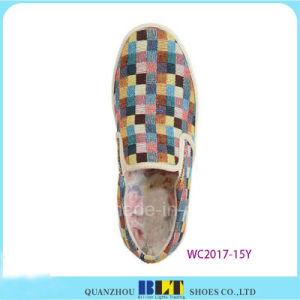 高いダイヤモンドのキャンバスの偶然靴