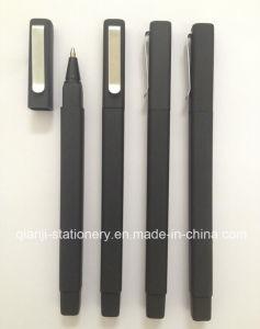 까만 사각 고무 볼펜 (P4002)