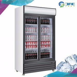 La pantalla comercial de la puerta de cristal de la nevera de bebidas