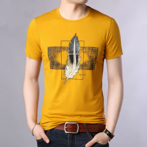 Os homens elegante' S ao redor do pescoço impresso Casual Shirt T Shirt de Lazer