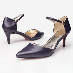 Mode féminine élégant Stiletto Chaussures violet avec Word Boucle de ceinture