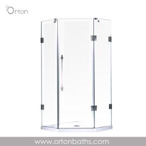 Frameless élégante salle de douche en forme de diamant cabines de douche
