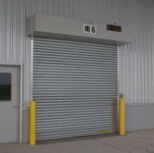 산업 외부 화재에 의하여 자동 내화성 내화장치 안전을 위로 구른다 화재 금속 알루미늄에 의하여 직류 전기를 통한 Steelpower 머리 위 회전 롤러 셔터 문이 평가했다