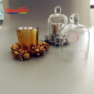 Suporte de vidro a impressão de prata metálico Vela Perfumada louro com decoração