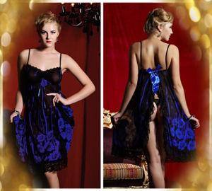 Fleur bleu d'impression une jupe longue Lingerie Lingerie Sexy ouvert dans le spot