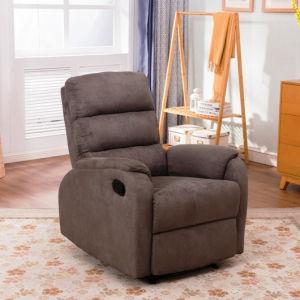 Manual moderno de un solo asiento reclinable marrón de tela de microfibra de estilo simple sofá reclinable