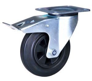 5'' PA Rodízio giratório roda de borracha com freio