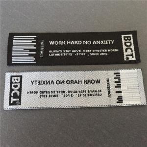 Personalizar el fondo negro con letras blancas ropa etiqueta tejida etiquetas tejidas