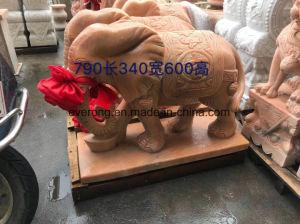 Het goedkope Rode Marmer die van de Zonsondergang het Dierlijke Beeldhouwwerk van het Landschap van de Gravures van de Olifant van Standbeelden snijden