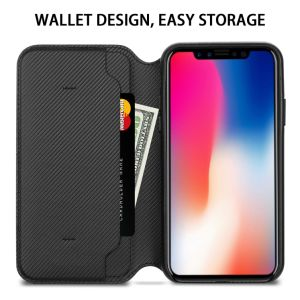B&K Eteck iPhone X Wallet Housse en cuir, de conception avec le titulaire de carte béquille capot rabattable