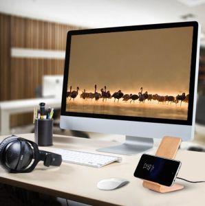 Du grain du bois chargeur sans fil rapide pour Samsung Note8 S8