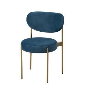 Tela cubierta de terciopelo azul Nacy de ocio de comedor silla con patas de metal para el restaurante del hotel Proyecto (SM46).