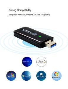 1200Mbits/s 11AC USB 3.0 5.8G 2.4G/sans fil double bande de carte réseau du récepteur de la carte WiFi 802.11ac/A/B/G/N