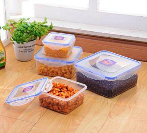 Conjunto aninhadas quadrado 4 compacta o bloqueio do clipe de plástico do recipiente de alimentos
