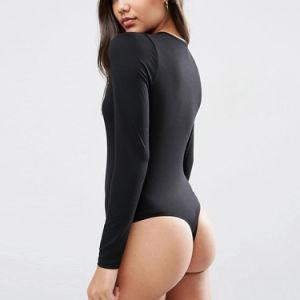 깊은 V 목 긴 소매 Bodysuit