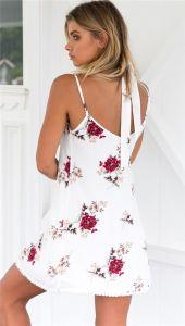 L'été Boho Plage Sangle Backless Spaghetti Mesdames Robes de Mousseline de Soie Blanche Sundress Bandage Floral Mini Robe Courte Femmes