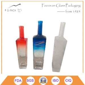Feuerstein-Glasflasche für Wodka-Getränkeverpackung mit Dekorationen