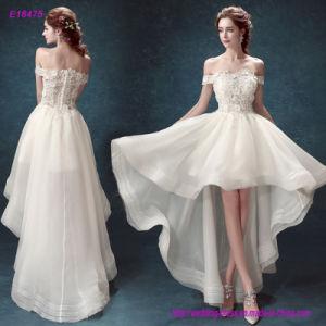 Off-Hombro aplique encaje Bodice Prom vestido con falda Flare