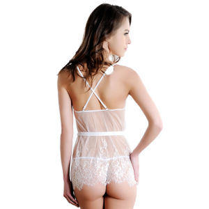 Hot Sale 2017 Blanc Sexy Ivory Lace Babydoll et G-String