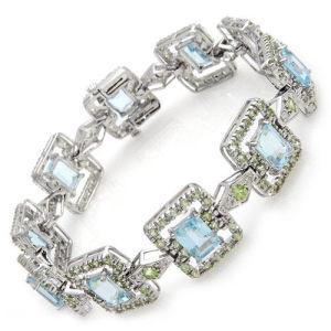 braccialetto dell'oro bianco 14K con il diamante e la pietra preziosa (LBRG1042)