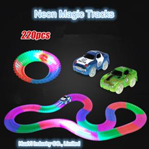 Luz néon luminosa fluorescente ilumina Dobre Flex Twister Magic pistas de corridas de automóveis de acrobacias da rampa