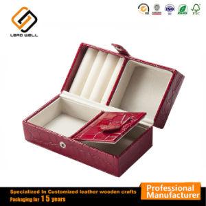 Rojo de cuero joyas regalo seguros la caja de almacenamiento