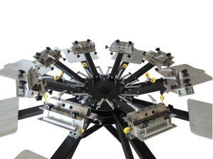 압박 기계장치를 인쇄하는 수동 회전하는 8 색깔 8 역 직물 디지털 스크린 인쇄 기계 오프셋 스크린