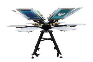고품질 마이크로 등록을%s 가진 수동 t-셔츠 6 색깔 6 역 스크린 인쇄 기계