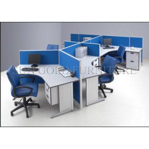 Oficina moderna Azul Inicio armarios X 4 Persona Estación de trabajo (SZ-WS031C)