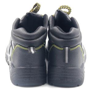Inyección de poliuretano baratos cuero industrial puntera de zapatos de seguridad