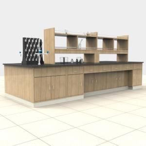 L'Université de haute qualité de l'école Laboratoire biologique de l'île en bois de la chimie de la résine époxy Table Top banc de travail avec évier/