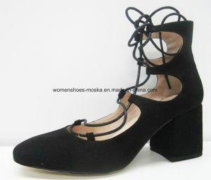 Madame trapue Sandal de chaussures de talon haut de bloc avec lacent vers le haut
