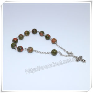 Braccialetto cattolico del rosario del branello della pietra del rosario, rosari religiosi (IO-CB179)