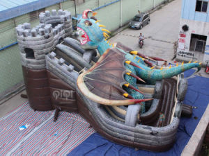 Inflables baratos Dragon Park Saltar Bouncer con tobogán para niños