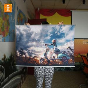ハングの旗ポスター壁スクロールの広告