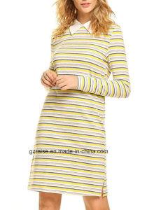 2018명의 형식 줄무늬 여자의 긴 복장 폴로 셔츠