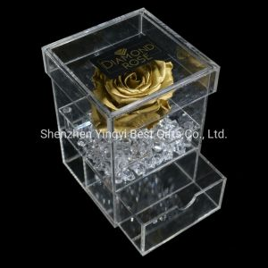À prova de água personalizadas em acrílico transparente de flores de plástico Rose Jóias da sapata de Chocolate Doces de casamento honra caixa de exibição
