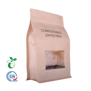 a9c0a2c5b Eco de fondo plano de papel Kraft Zipper Cafetera Bolsa biodegradables de  almidón de maíz la