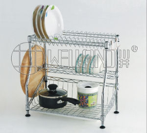 Cuisine en métal chromé réglable Pan Pot plat drainer planche à hacher Rack de stockage