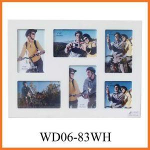 6 Открытие белой деревянной стене висел коллаж фоторамки (WD06-83белый)