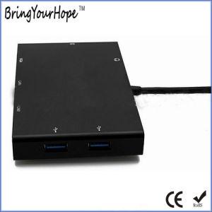 Station d'accueil de type C HDMI VGA RJ45 convertisseur multifonction de moyeu (XH-Moyeu-007)