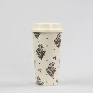 بيضاء لون [350مل] لين خيزرانيّ بالجملة يشرب [كفّ موغ] مع غطاء