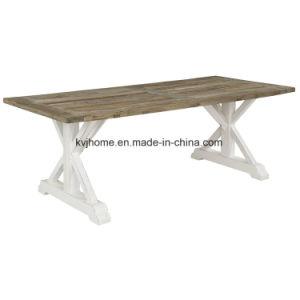 Country Style Rectangular White Mesa de comedor de madera usada (AF ...