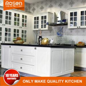 Glastürrahmen-weißer Entwurfs-Küche-Schrank