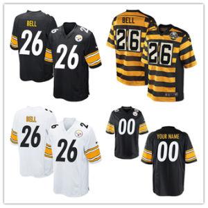 Hombres Mujeres Jóvenes Steelers Jerseys 26 Le'veen Bell Camisetas de fútbol