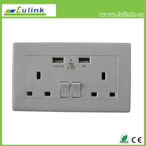 Reino Unido Tipo doble toma de corriente USB de carga, interruptor de pared estándar británico