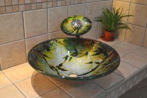 置かれる浴室のガラス洗面器及び一致の蛇口(FSE-FNS-1123)