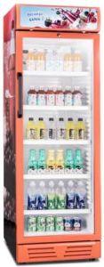 Fábrica profesional Ventilador Popular pantalla vertical congelador nevera de bebidas
